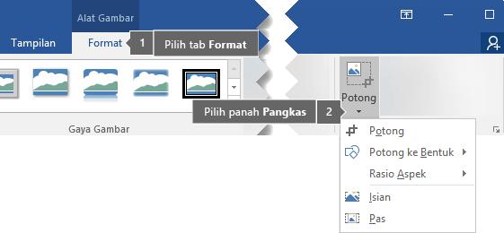 Tombol potong berada pada tab Format Alat Gambar