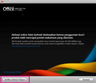 Cuplikan layar Office untuk Mac Mengaktifkan melalui telepon
