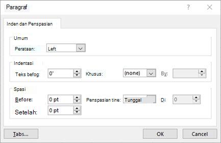 Gambar dialog paragraf untuk mengedit inden dan penspasian teks kotak teks