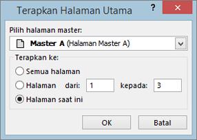 Cuplikan layar memperlihatkan kotak dialog Terapkan halaman Master.