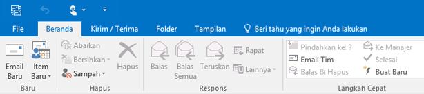 Seperti inilah pita terlihat di Outlook 2016.