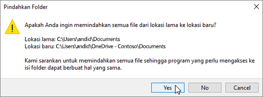 Cuplikan layar memperlihatkan peringatan yang muncul saat Anda mengklik Pilih Folder, pilih kotak dialog tujuan.