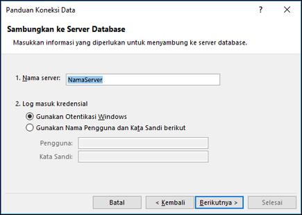 Panduan koneksi data > Sambungkan ke server