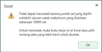 pesan tidak dapat membuat tabel menggunakan lebih dari 10.000 sel