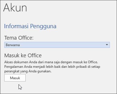 Cuplikan layar memperlihatkan Informasi akun di Word