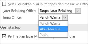 Menu tarik ke bawah Tema Office, opsi tema Berwarna, Abu-abu Gelap, dan Putih