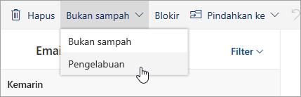 Cuplikan layar tombol Pengelabuan dalam menu menurun Bukan sampah