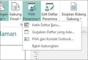 Opsi tombol Pilih Penerima Surat Menyurat