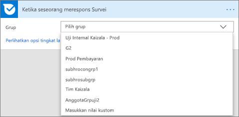 Cuplikan layar: Pilih grup
