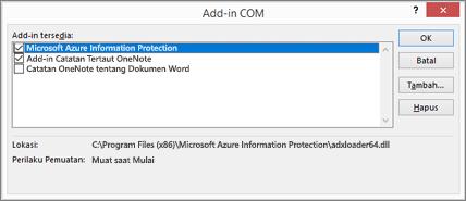 Menggunakan kotak dialog Kelola Add-in COM untuk menonaktifkan atau menghapus add-in yang tidak diinginkan