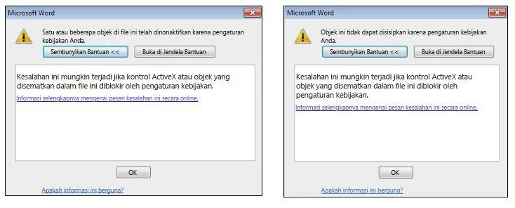 Pesan kesalahan kontrol ActiveX objek tersemat