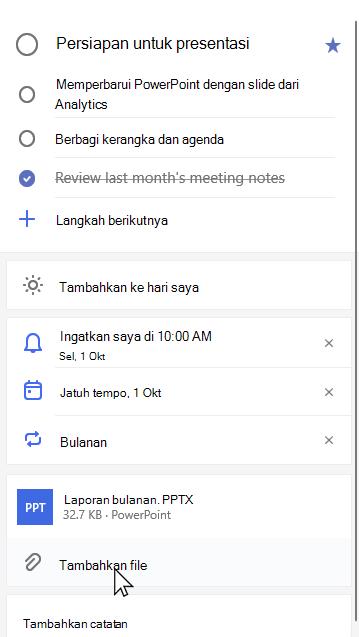 Tampilan detail persiapan tugas untuk presentasi dengan laporan bulanan. PPTX terlampir dan opsi untuk menambahkan file yang dipilih