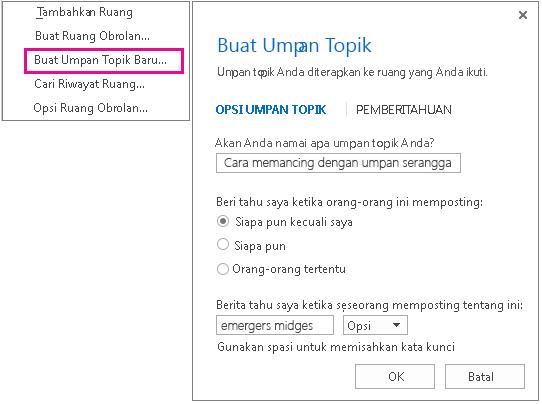 Cuplikan layar yang memperlihatkan pilihan dan jendela menu untuk membuat umpan topik