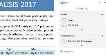 Panel Editor yang menampilkan masalah pemeriksaan untuk dikoreksi dalam dokumen Word yang terbuka