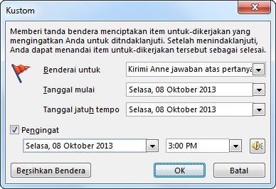 Kotak dialog Kustom untuk mengatur pengingat, tanggal mulai, dan tanggal selesai