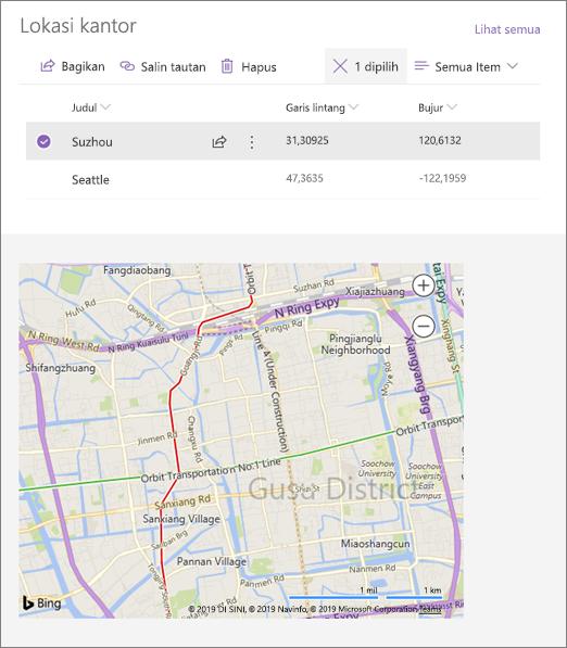 Contoh komponen web Semat tersambung memperlihatkan lokasi dari daftar