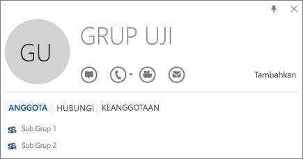 Cuplikan layar tab Anggota dari kartu kontak Outlook untuk grup bernama Grup Uji. Sub Grup 1 dan Sub Grup 2 diperlihatkan sebagai anggota.