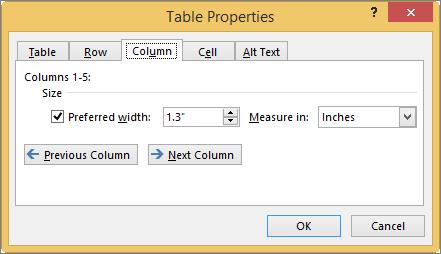 Tab kolom dalam kotak dialog properti tabel