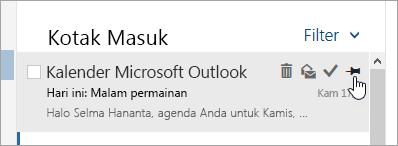 Cuplikan layar opsi penyematan dalam daftar pesan
