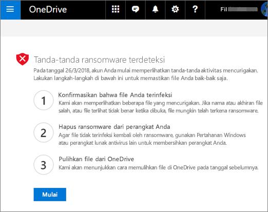 Cuplikan layar tanda ransomware terdeteksi layar pada situs web OneDrive