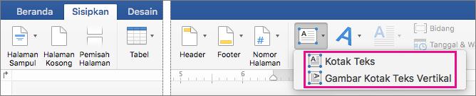 Klik kotak teks untuk menyisipkan salah satu kotak teks dengan teks horizontal atau vertikal.