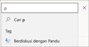 Kotak pencarian dengan huruf p dan hasil yang memperlihatkan Diskusi dengan Pandu