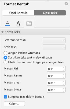 Opsi Kotak Teks di panel Format Bentuk