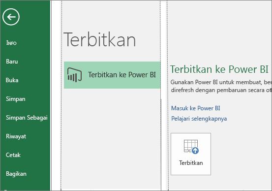 Tab Terbitkan di Excel 2016 memperlihatkan tombol Terbitkan ke Power BI