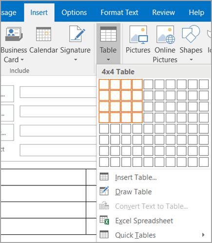 Seret untuk memilih tabel