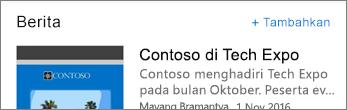 Cuplikan layar memperlihatkan link Tambahkan