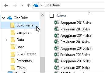 Windows Explorer, folder OneDrive, file Excel