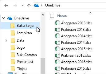 Windows Explorer, folder OneDrive, file Excel