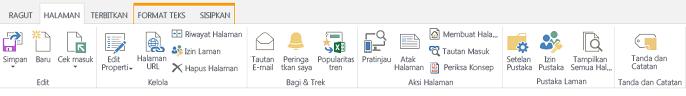 Cuplikan layar tab halaman, yang berisi sejumlah tombol untuk mengedit, menyimpan, dan melakukan check in dan check out pada halaman penerbitan.