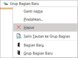 Dialog Hapus grup bagian di OneNote untuk Windows
