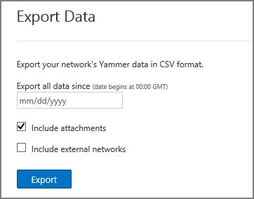 Mengekspor Data dari jaringan Yammer