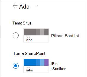 Pilih tema baru untuk situs SharePoint Anda