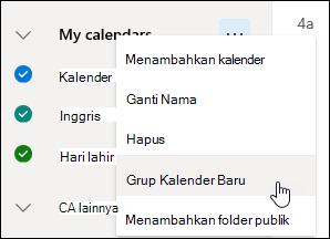 Cuplikan layar tombol Grup kalender baru
