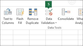 Validasi daftar turun bawah dengan mengklik Data > Validasi Data di Excel
