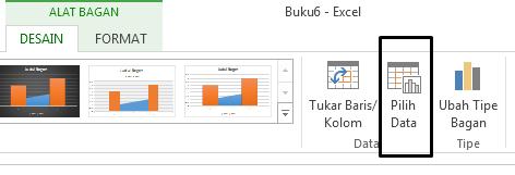 Opsi Pilih Data terdapat di tab Desain.