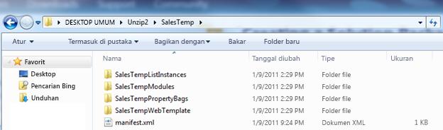 Cuplikan layar Windows Explorer yang memperlihatkan Web Solution Package (.wsp) yang dikembalikan ke ukuran yang sebenarnya.