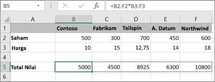 Contoh rumus array yang menghitung beberapa hasil