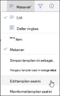 Opsi menu Edit tampilan SharePoint online