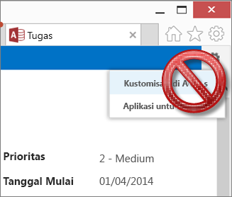 Opsi Kustomisasi di Access pada menu Pengaturan diperlihatkan dicoret