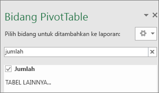 Panel Bidang PivotTable memperlihatkan hasil pencarian