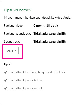 Kotak dialog Opsi Soundtrack