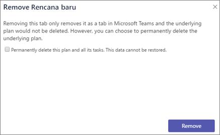 Cuplikan layar kotak dialog Hapus tab di Teams