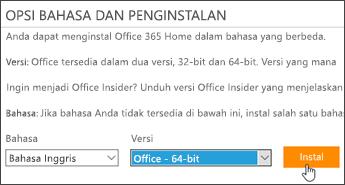 Cuplikan layar yang memperlihatkan opsi Bahasa dan versi serta tombol Instal