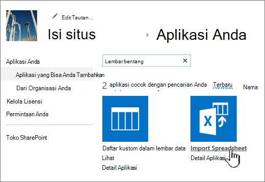 Impor lembar bentang aplikasi disorot dalam dialog aplikasi baru