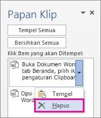 Menghapus item dari clipboard Word 2013