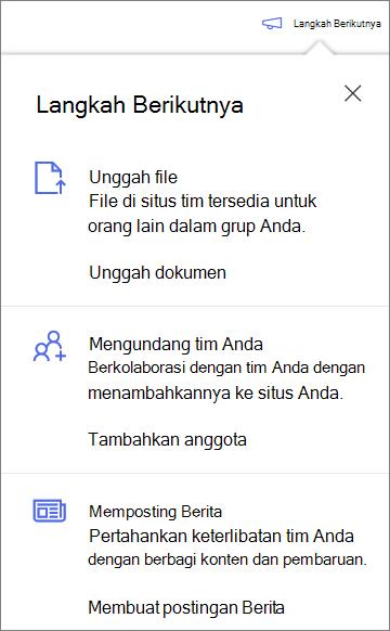 Panel langkah berikutnya setelah membuat pustaka bersama baru di OneDrive for Business